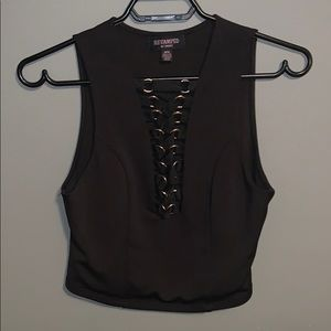 Black Sirens Chain Lace-Up Tank Top